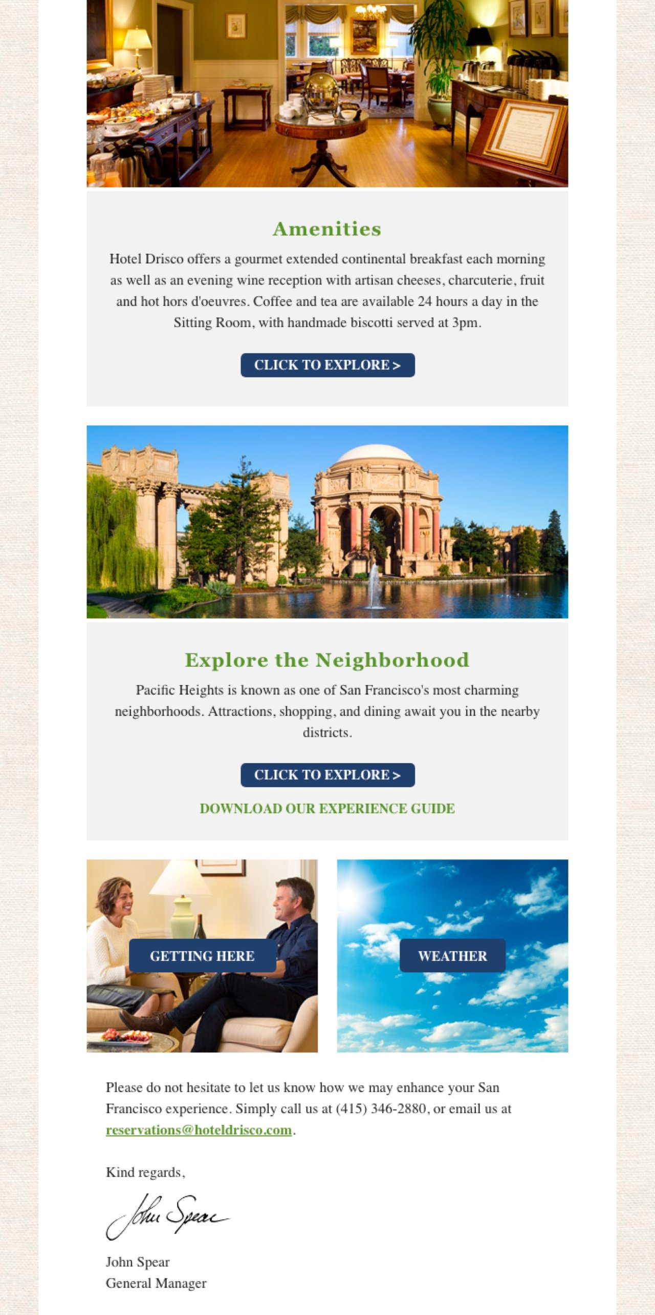Hotel Drisco newsletter example