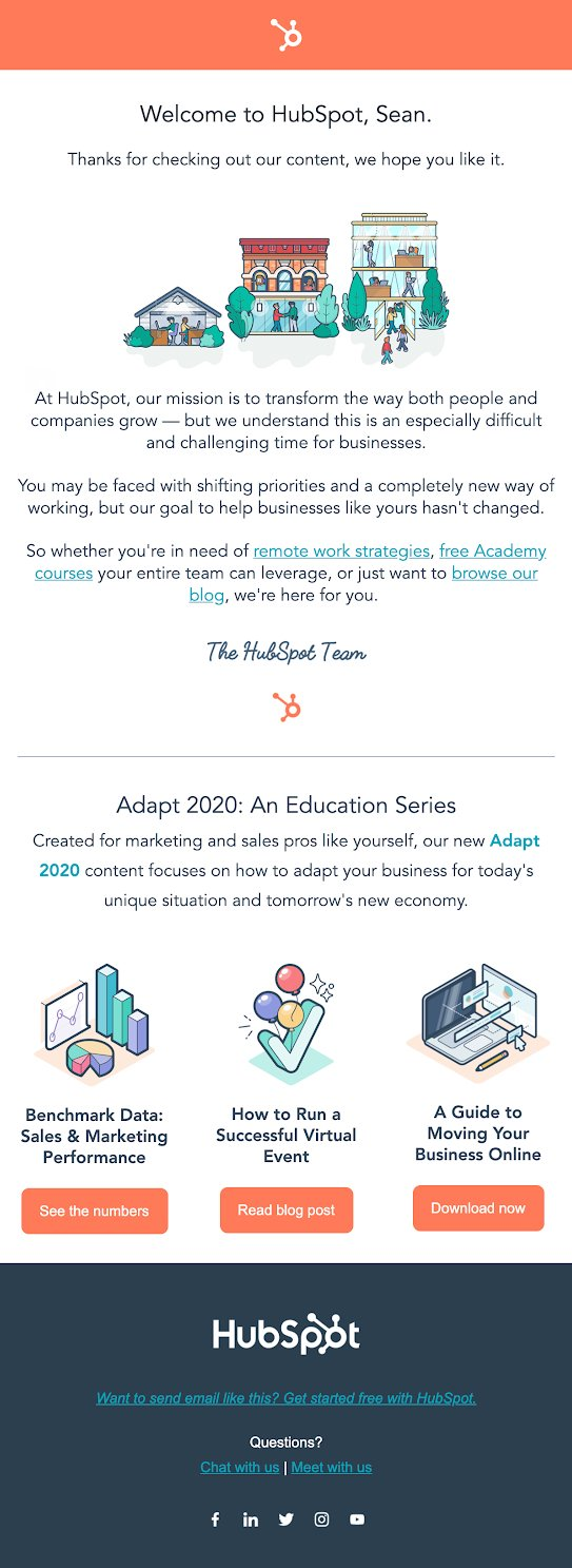 HubSpot welcome email example illustrations on white background