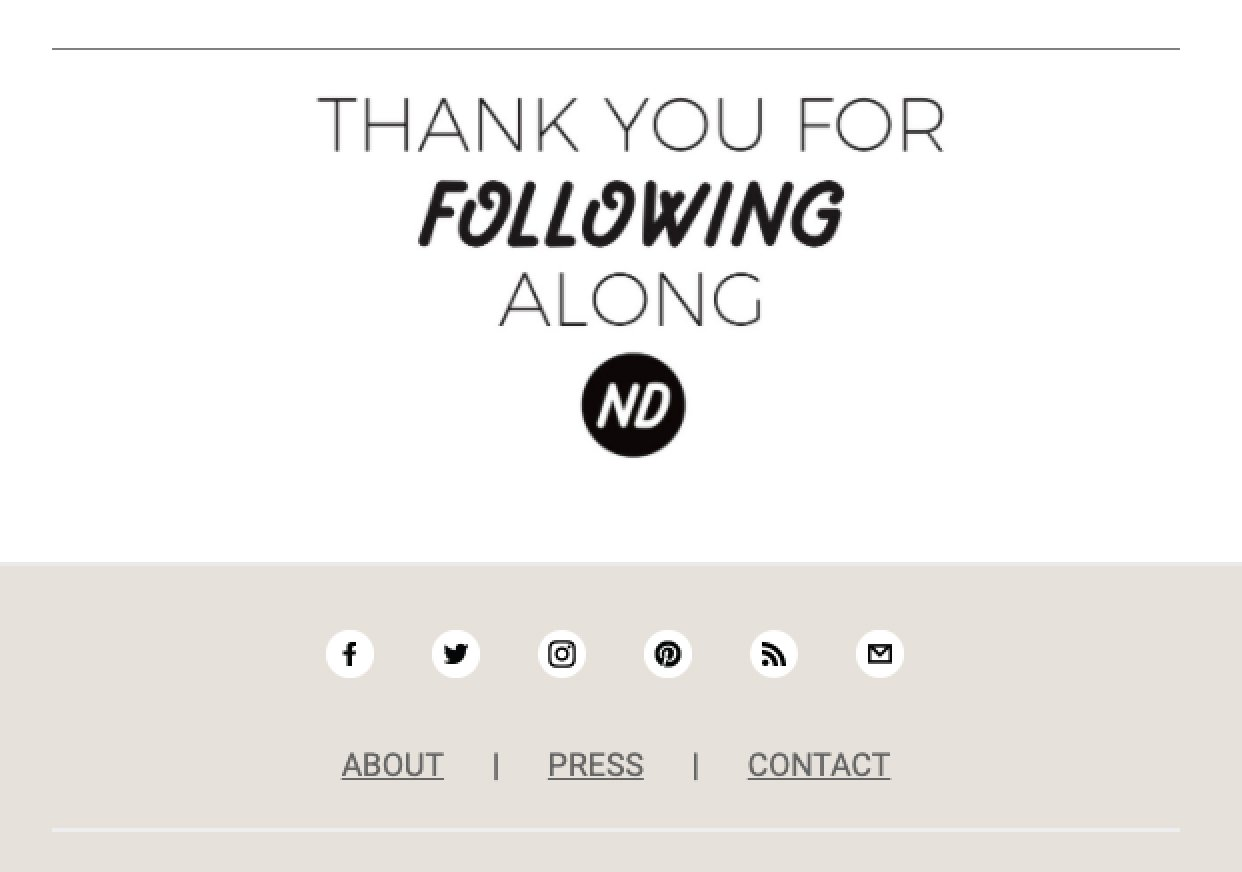 New Darlings email sign-off thank you for following social media icons