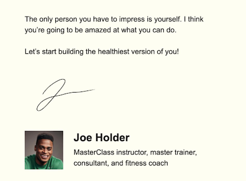 Masterclass email sign-off example simple signature inspirational quote