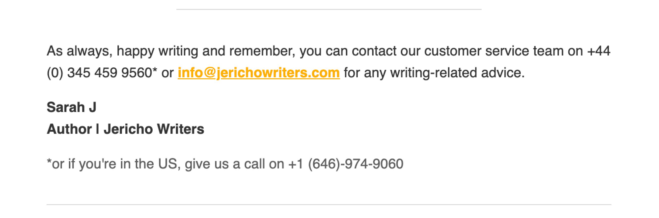Jericho Writers email sign-off example contact information