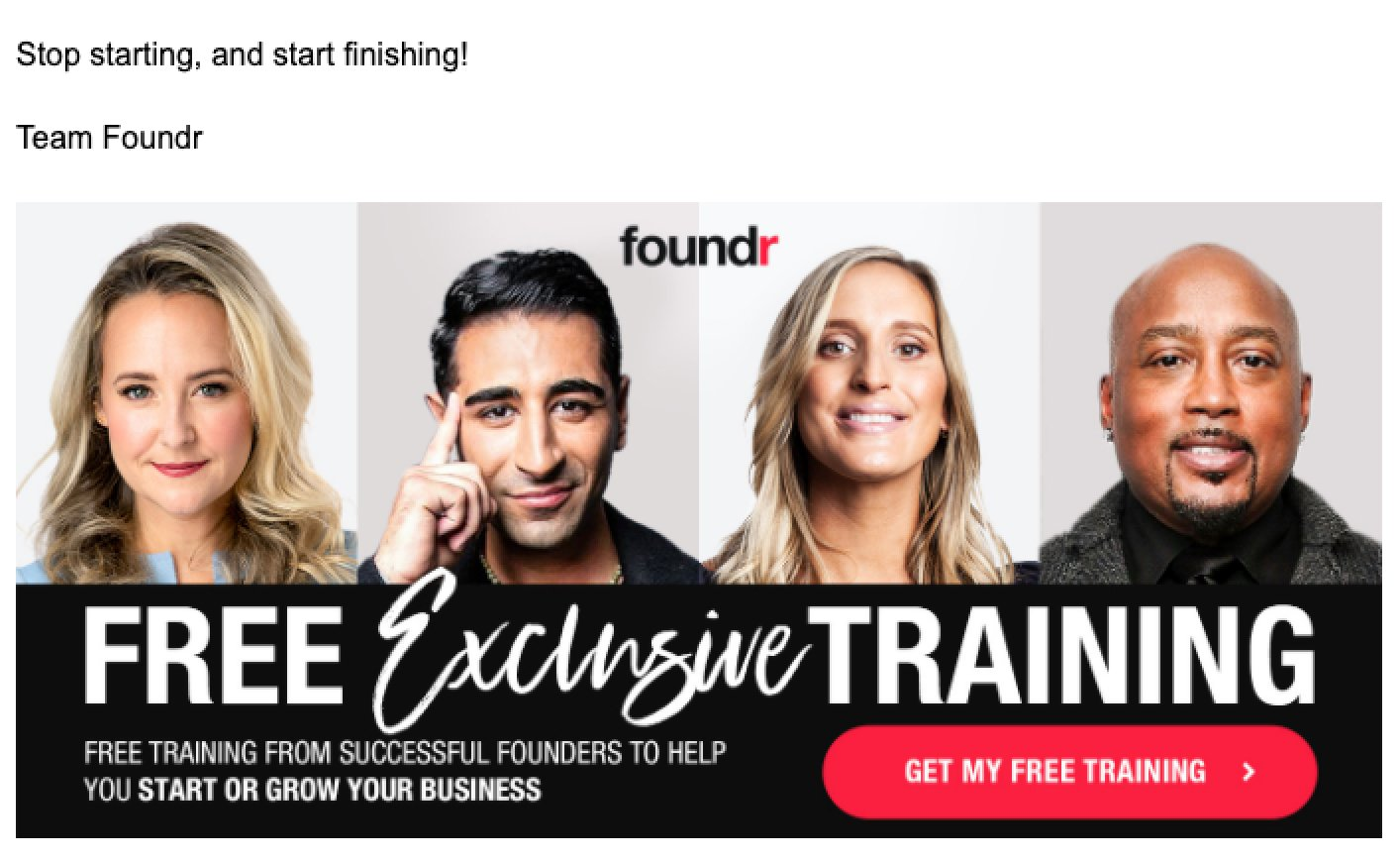Foundr email sign-off example free exclusive training profile speakers