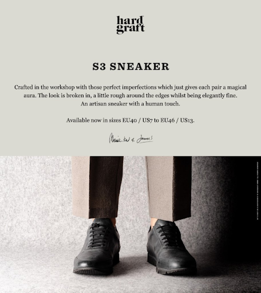 Hard Graft email sign-off example gentlemen black shoes signature on top