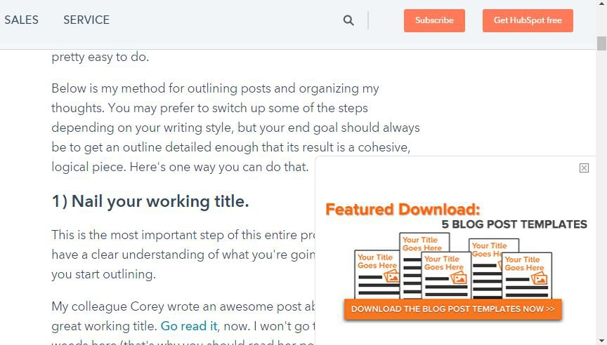 hubspot pop-up example