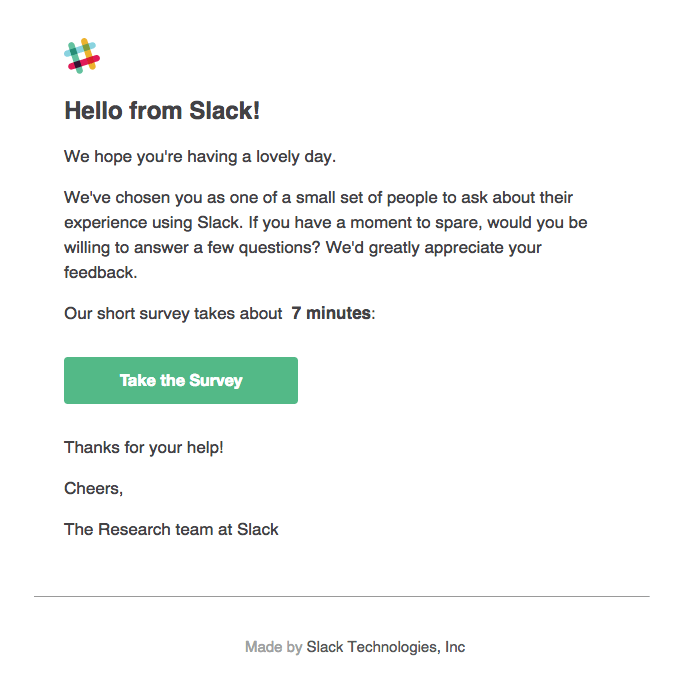 slack survey email example