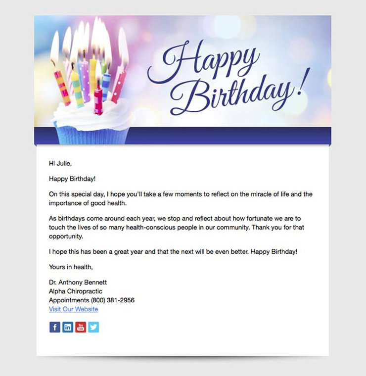 happy birthday healthcare newsletter example