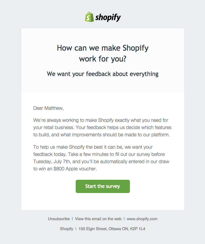 shopify survey email example