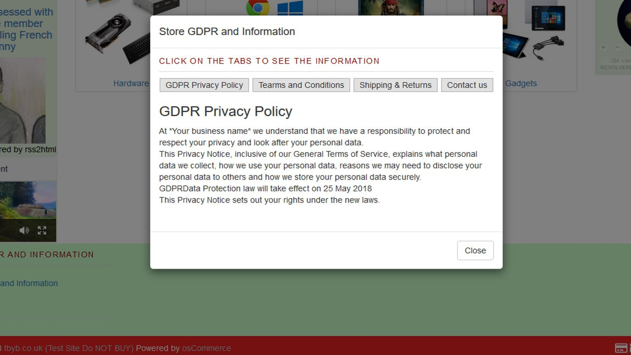 gdpr pop-up example
