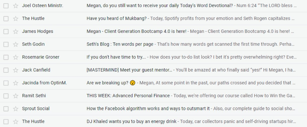 Inbox newsletters