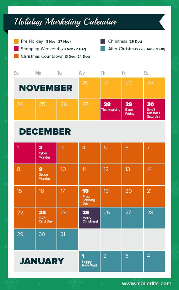 Email Marketing for Holidays Calendar