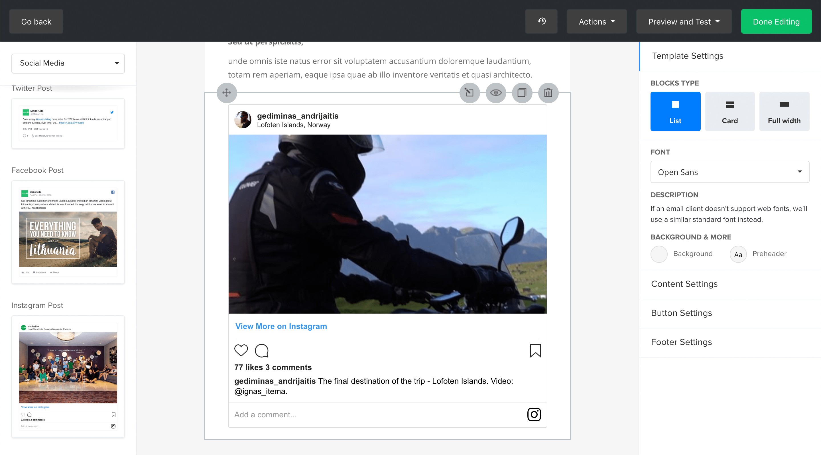 MailerLite Instagram integration