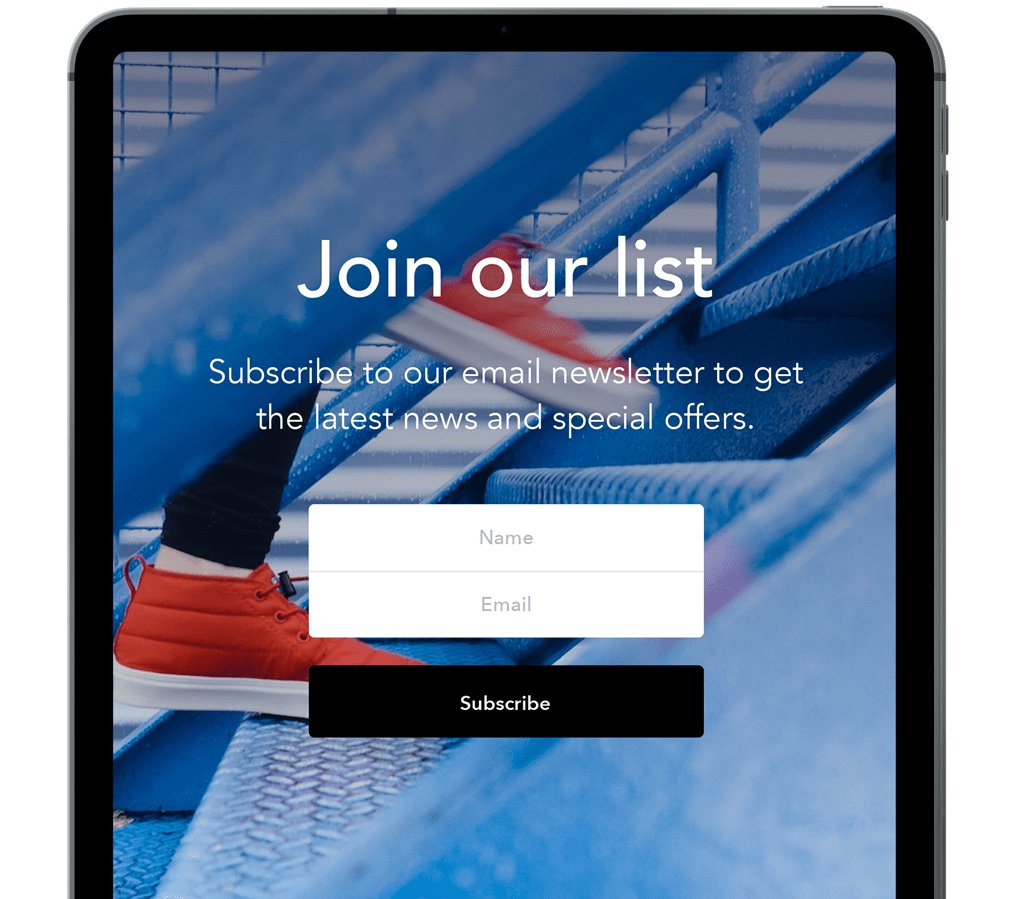 iPad signup form join our list mobile device