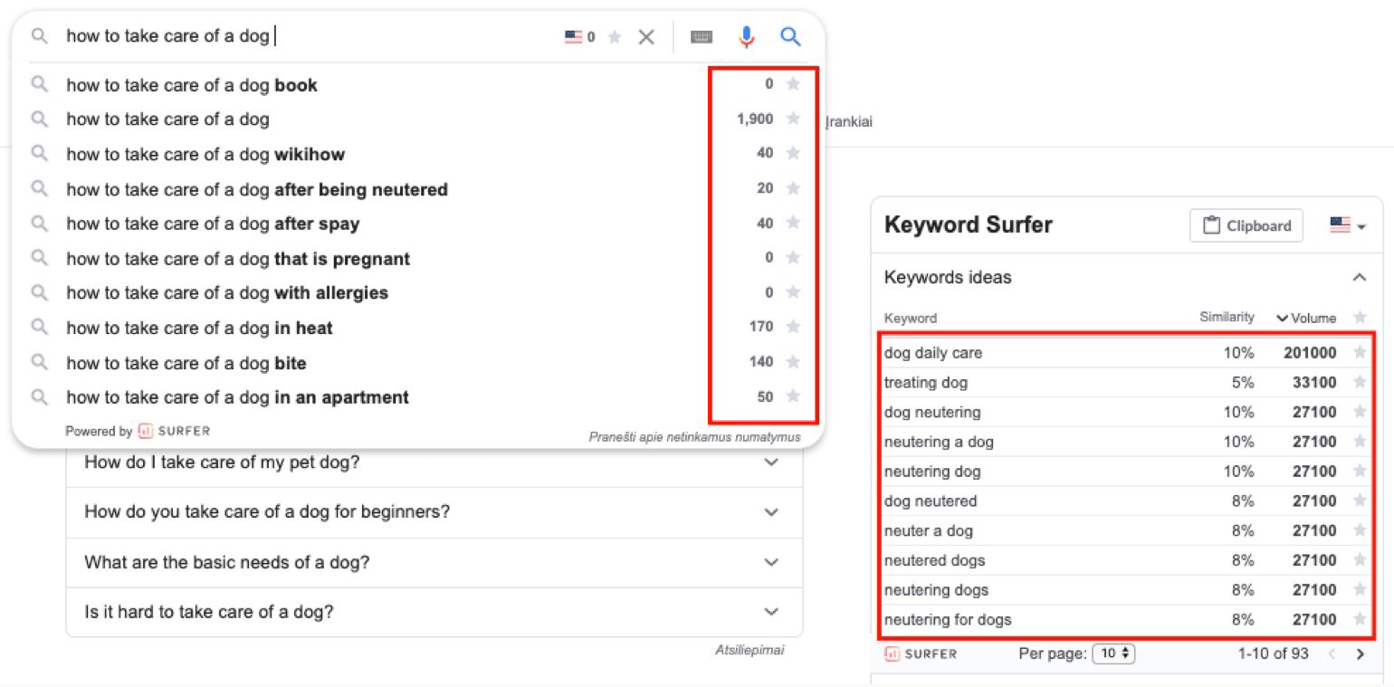 keyword surfer chrome extension example