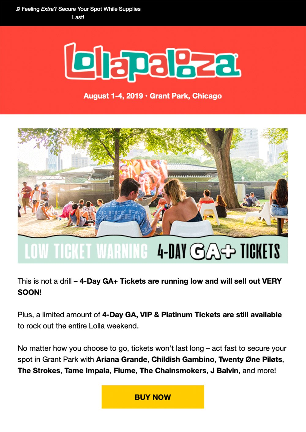 Event newsletter - Lollapalooza urgent email example
