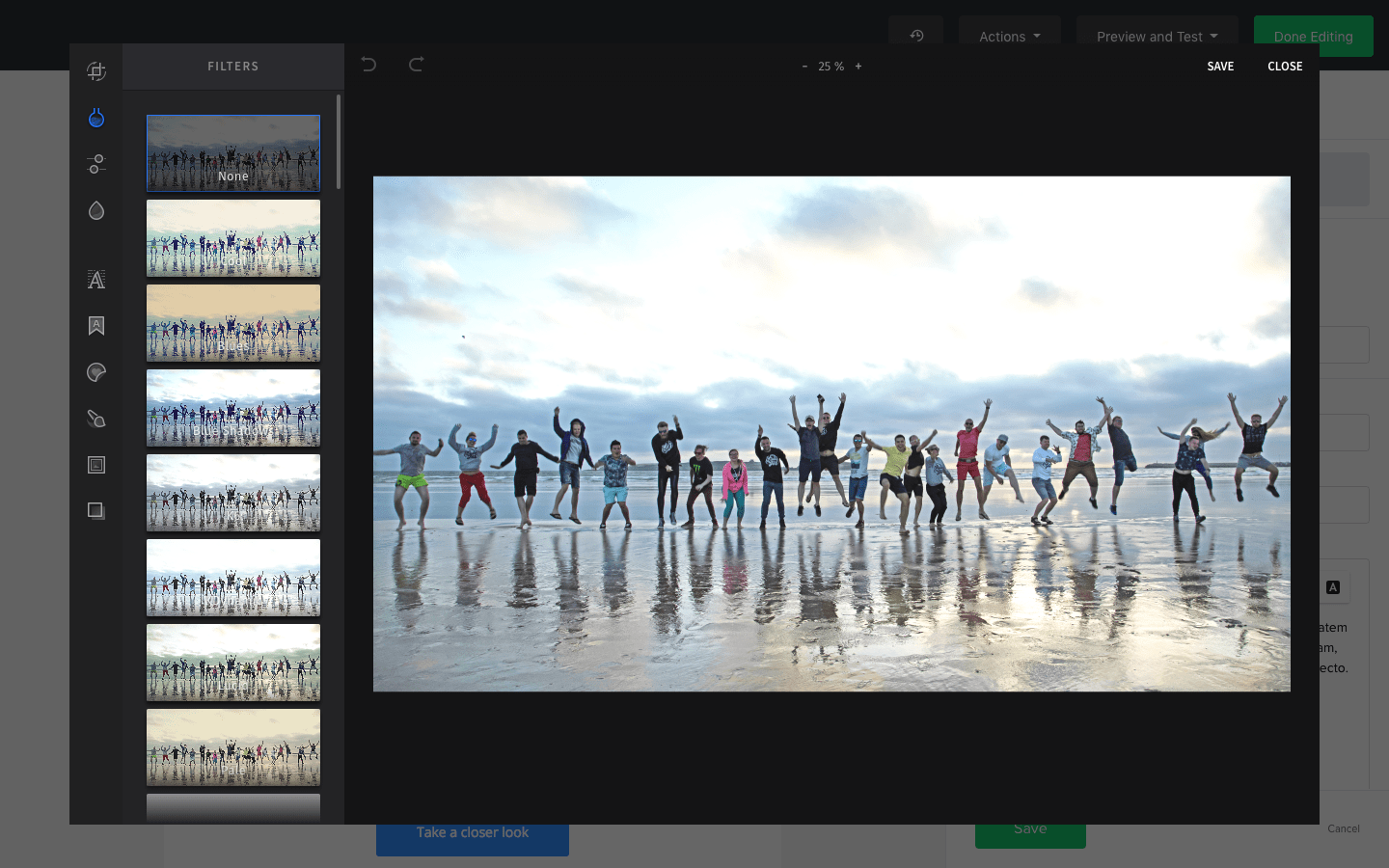 MailerLite built-in photo editor