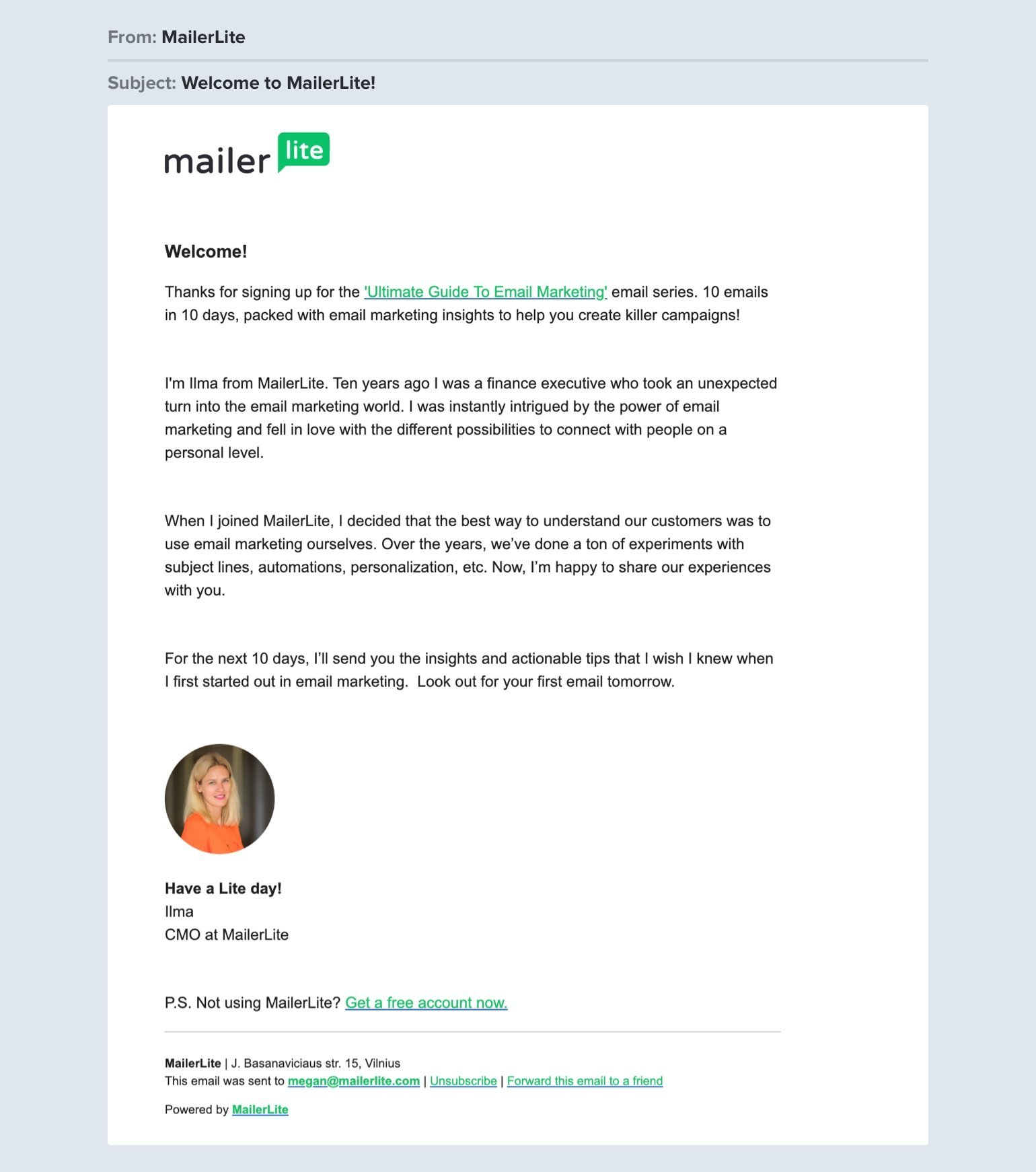 MailerLite welcome email example