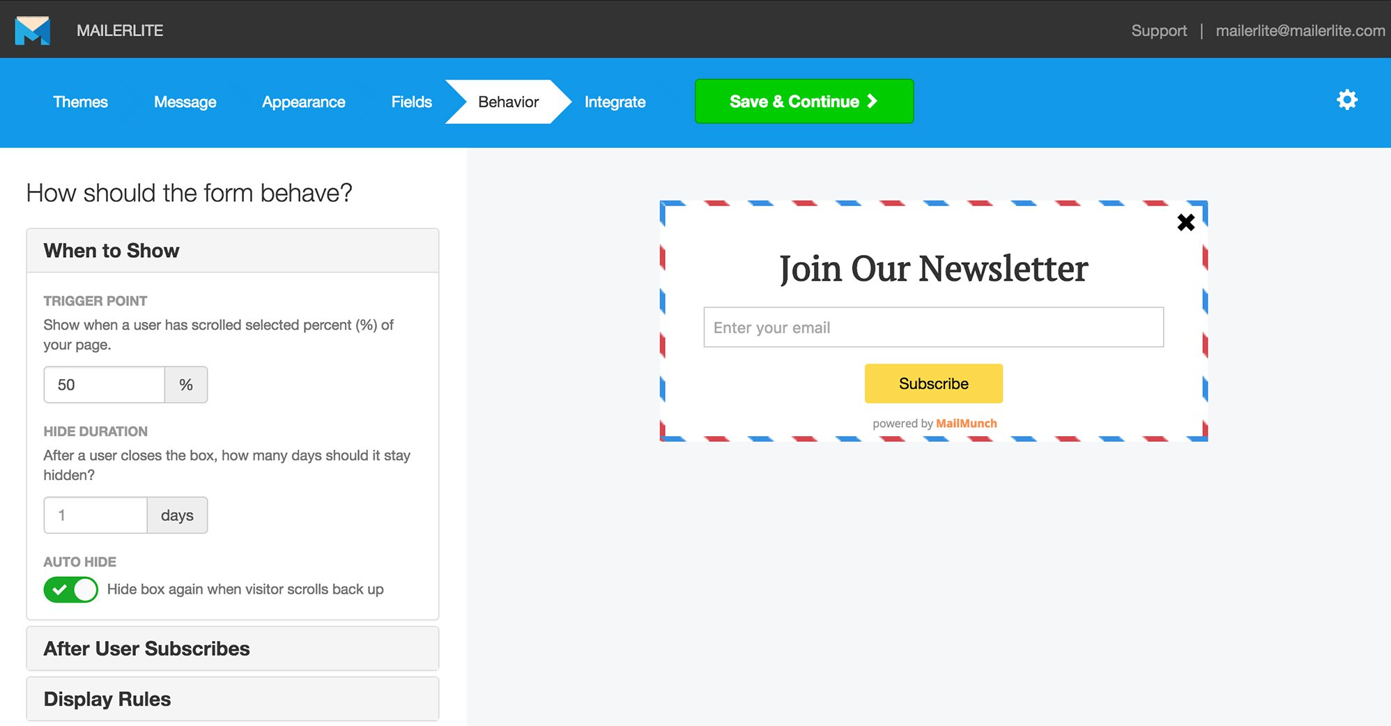 mailmunch subscribers advanced features mailerlite integration