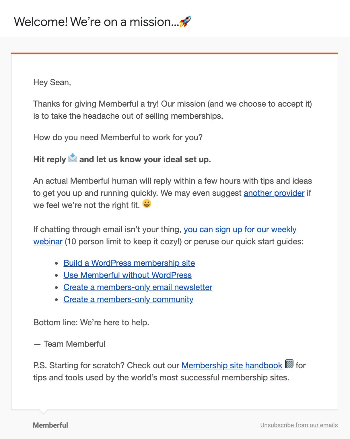 Memberful welcome email example email with emojis