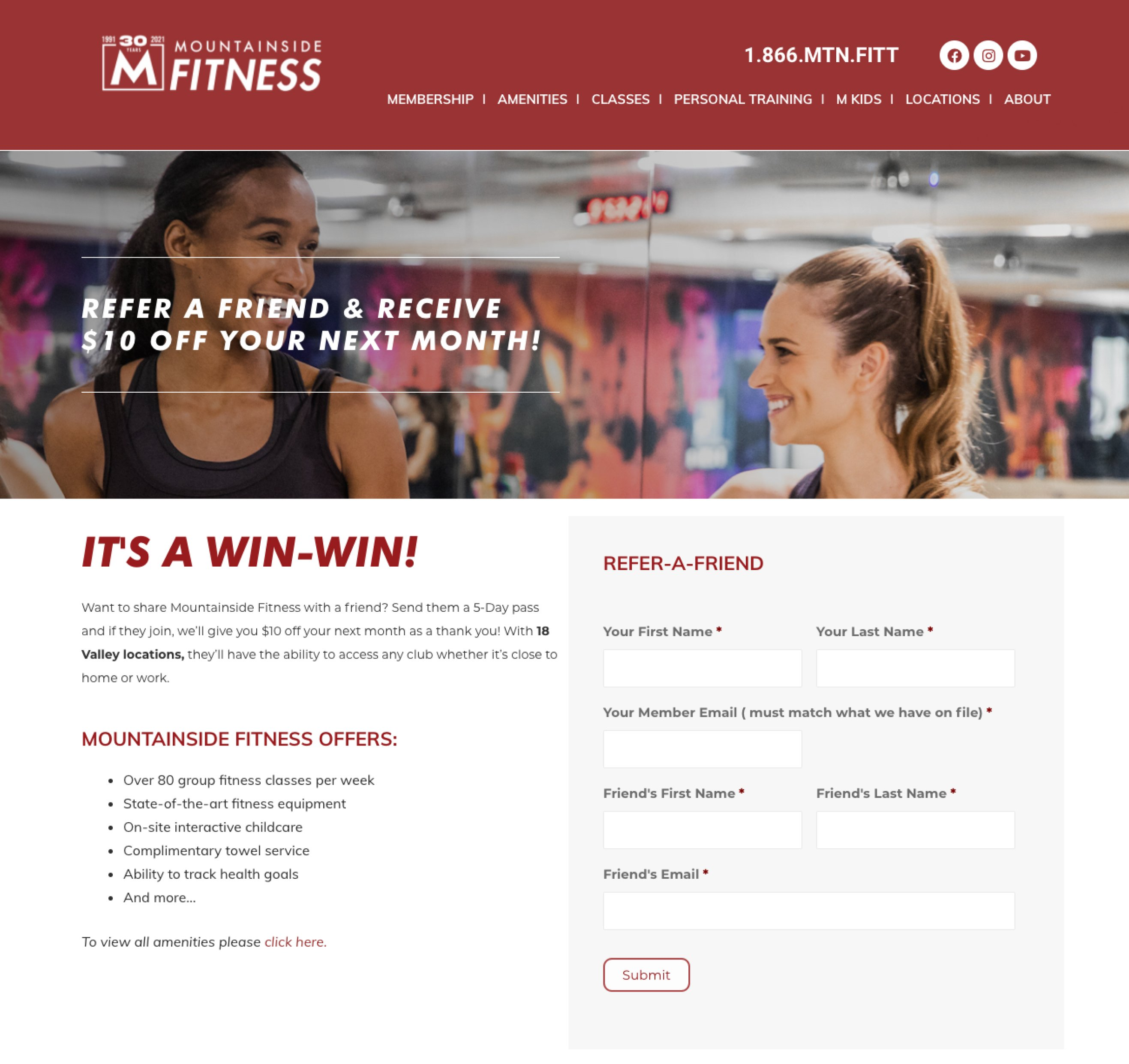 Mountainside Fitness refer a friend signup form on landing page