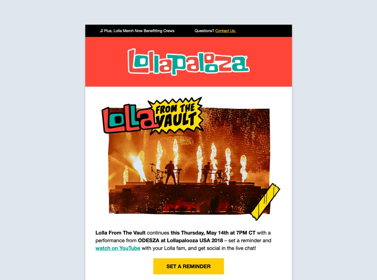 lollapalooza email newsletter fire photo retro style minimum text