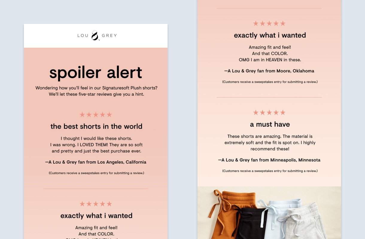 rose gold background newsletter design example from lou grey
