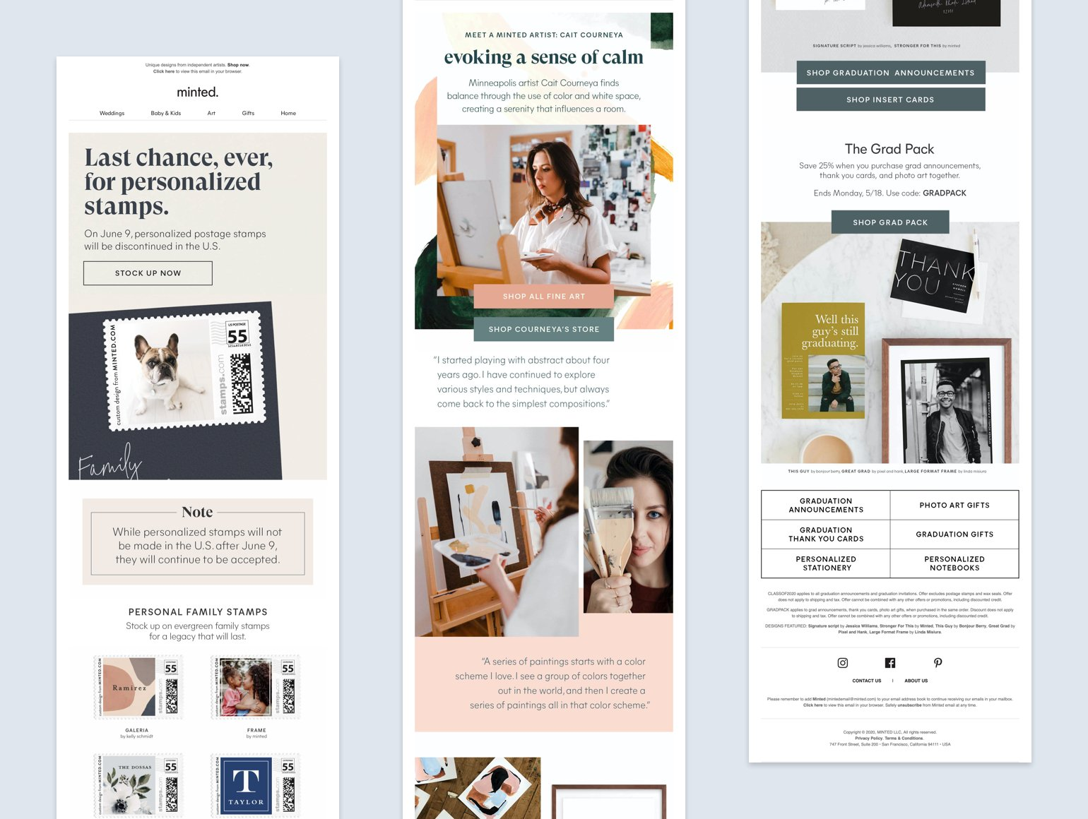 Collage with 3 emails from Minted