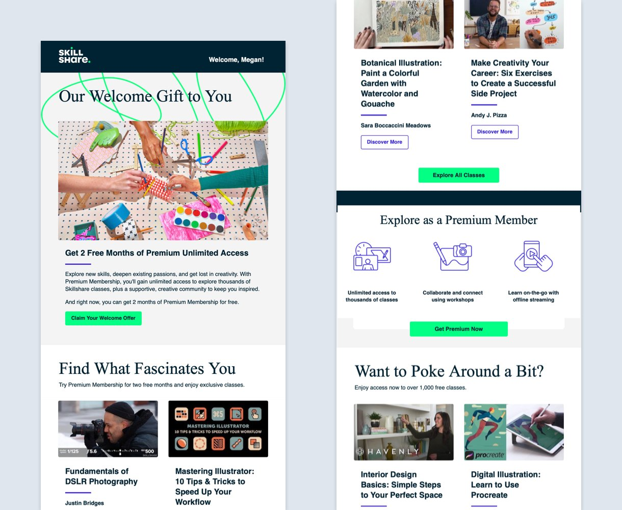 skillshare newsletter design example with green buttons and icons