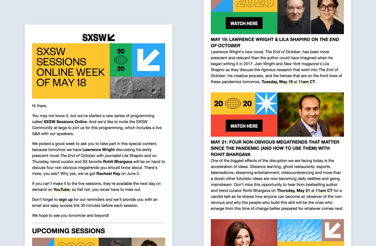 sxsw newsletter design example with bright colors