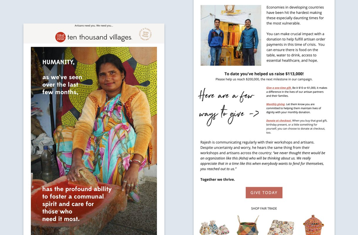 ten thousand villages email newsletter fundraising campaign
