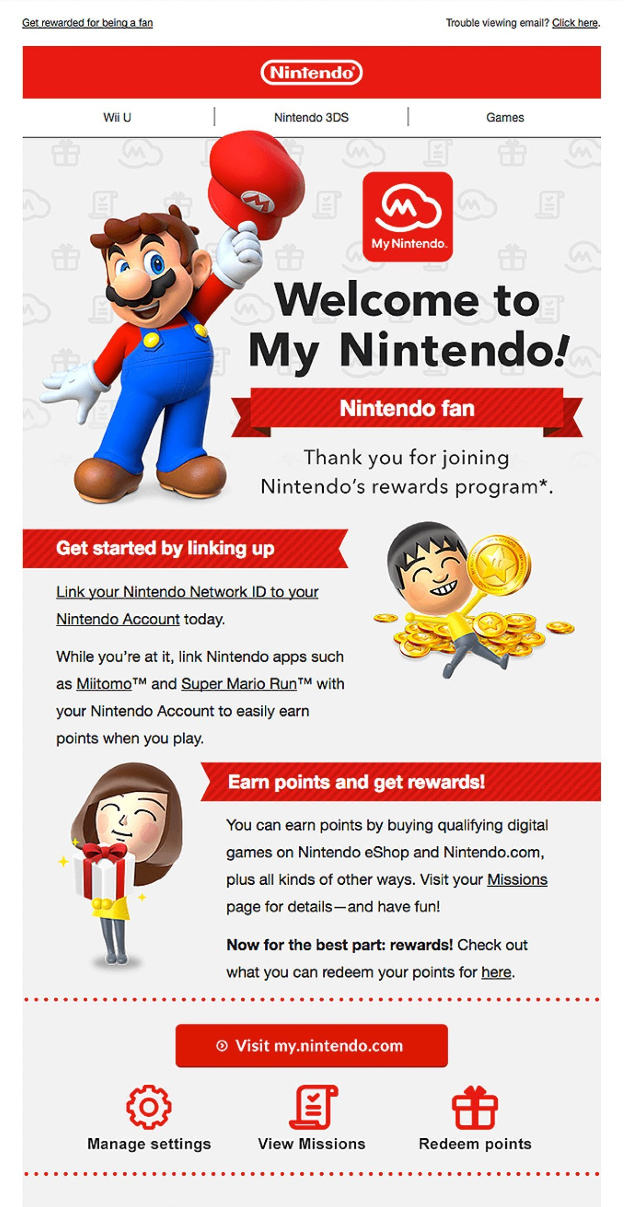 Nintendo welcome email example Super Mario