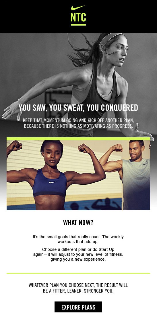 Nike NTC personalized workout email newsletter example