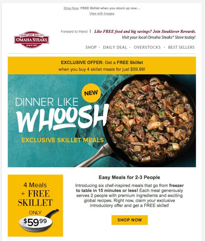 restaurant newsletters - Omaha Steaks email example