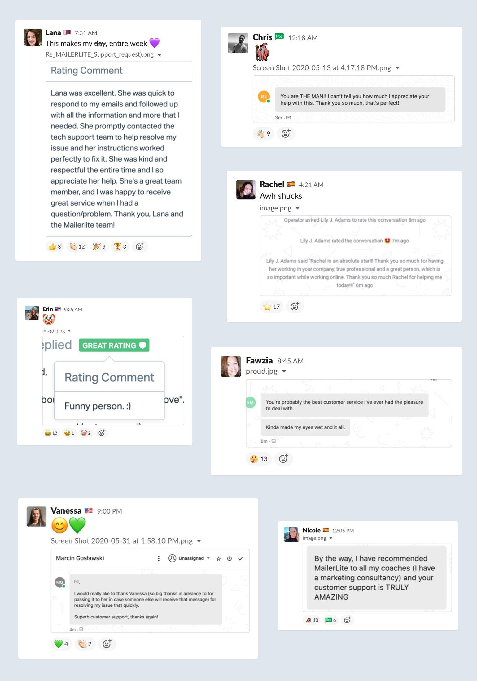 Collage de respuestas del cliente