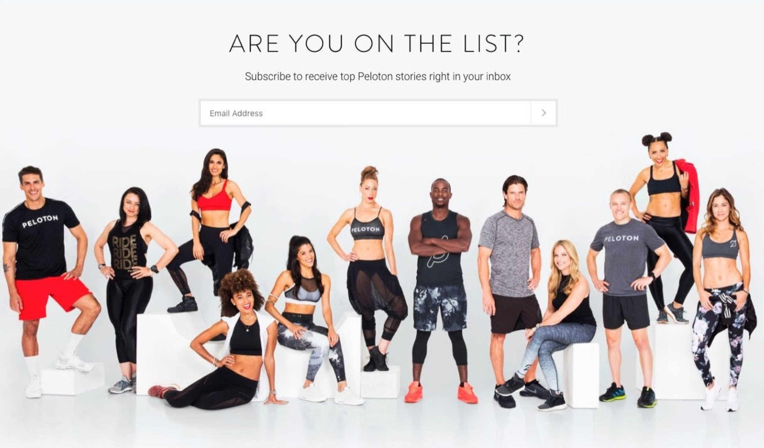 Peloton email subscription form example are you on the list