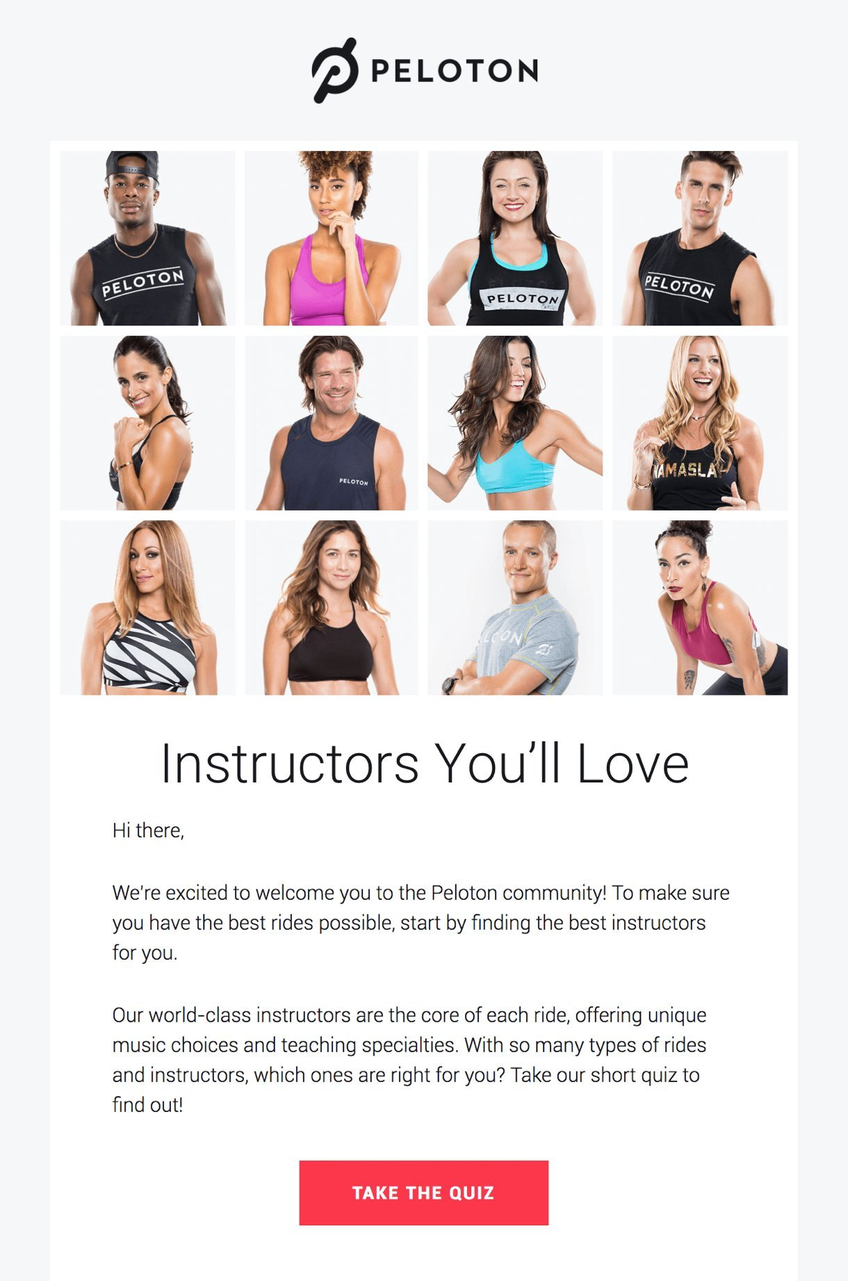 Pelaton welcome email example fitness instructors on white background