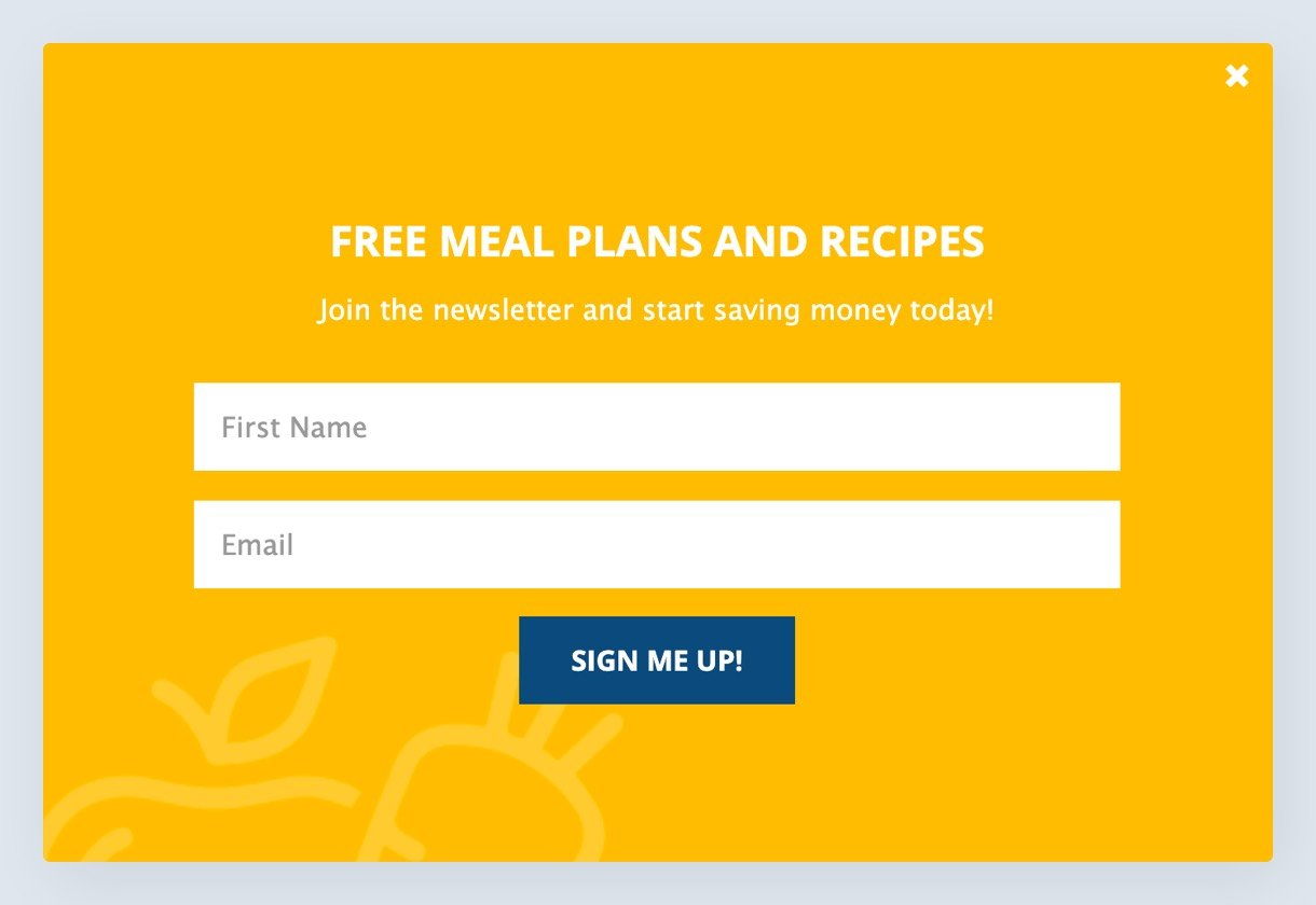 simple sign up pop up example in yellow background - MailerLite