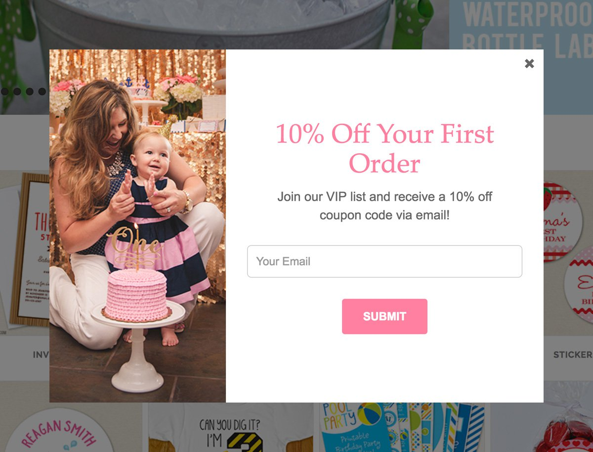 shopify discount popup example - email marketing - MailerLite