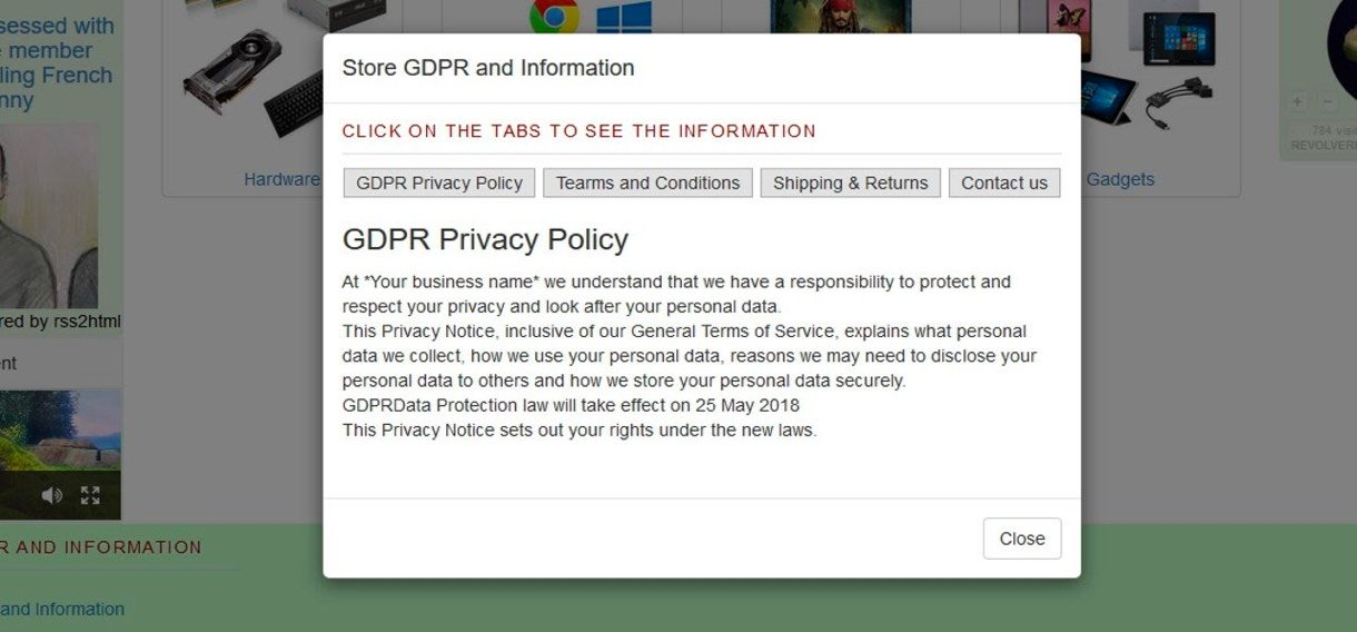 gdpr privacy policy pop-up example