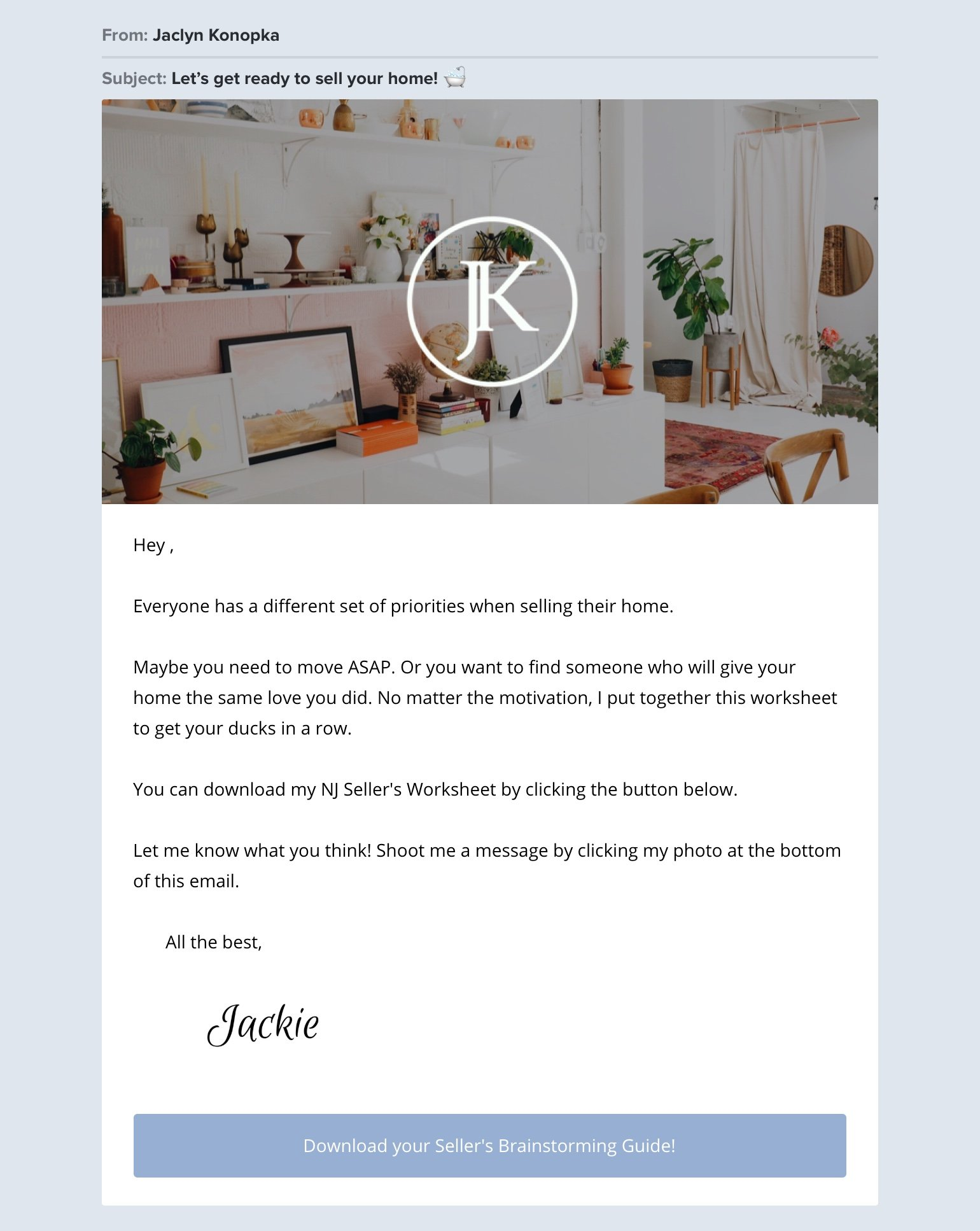 Jaclyn Konopka real estate email example