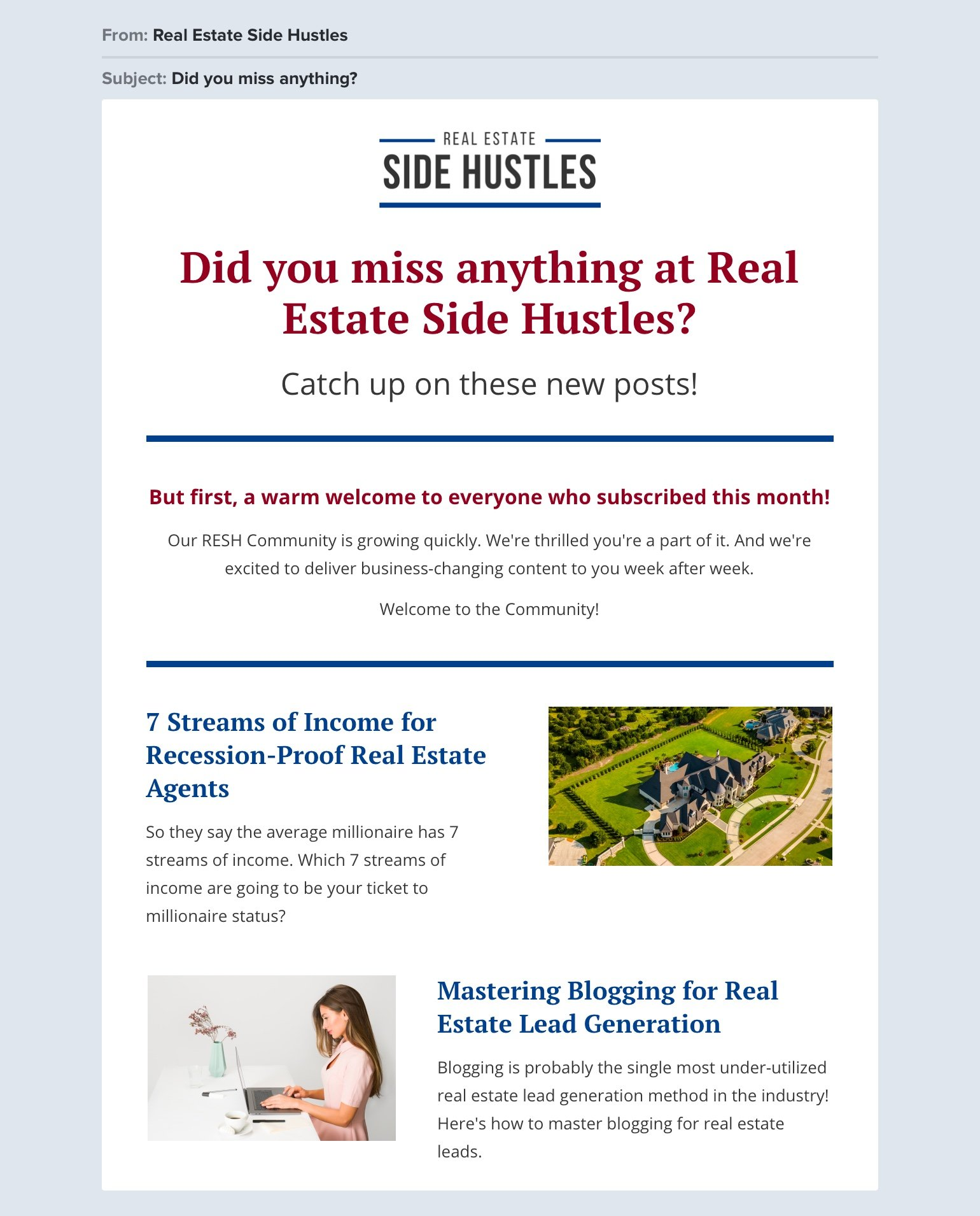 Real Estate Side Hustles welcome email example