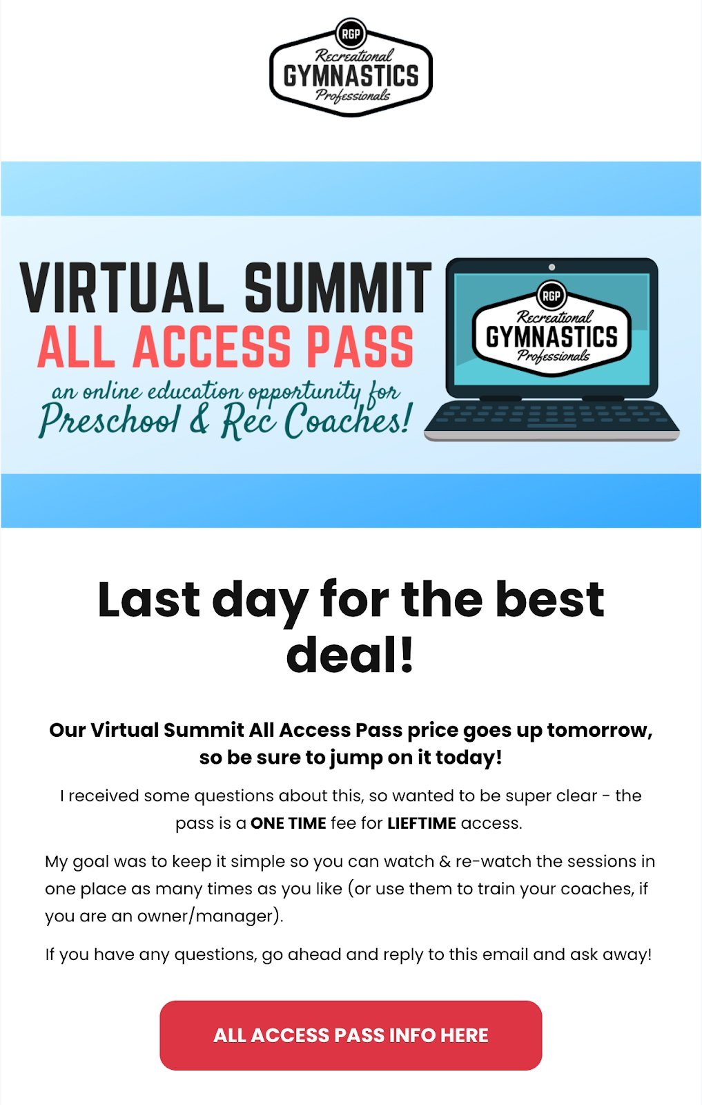 Recreational Gymnastics Professionals fitness newsletter example virtual summit