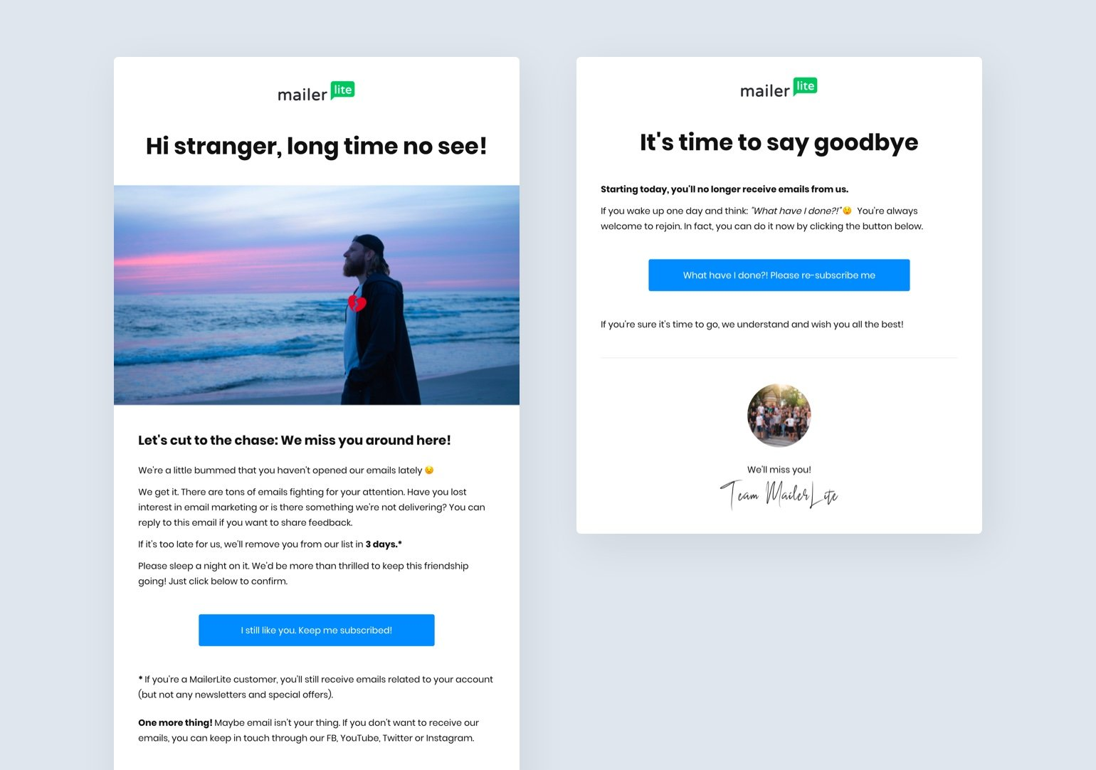 Win-back re-engagement email campaign example - MailerLite