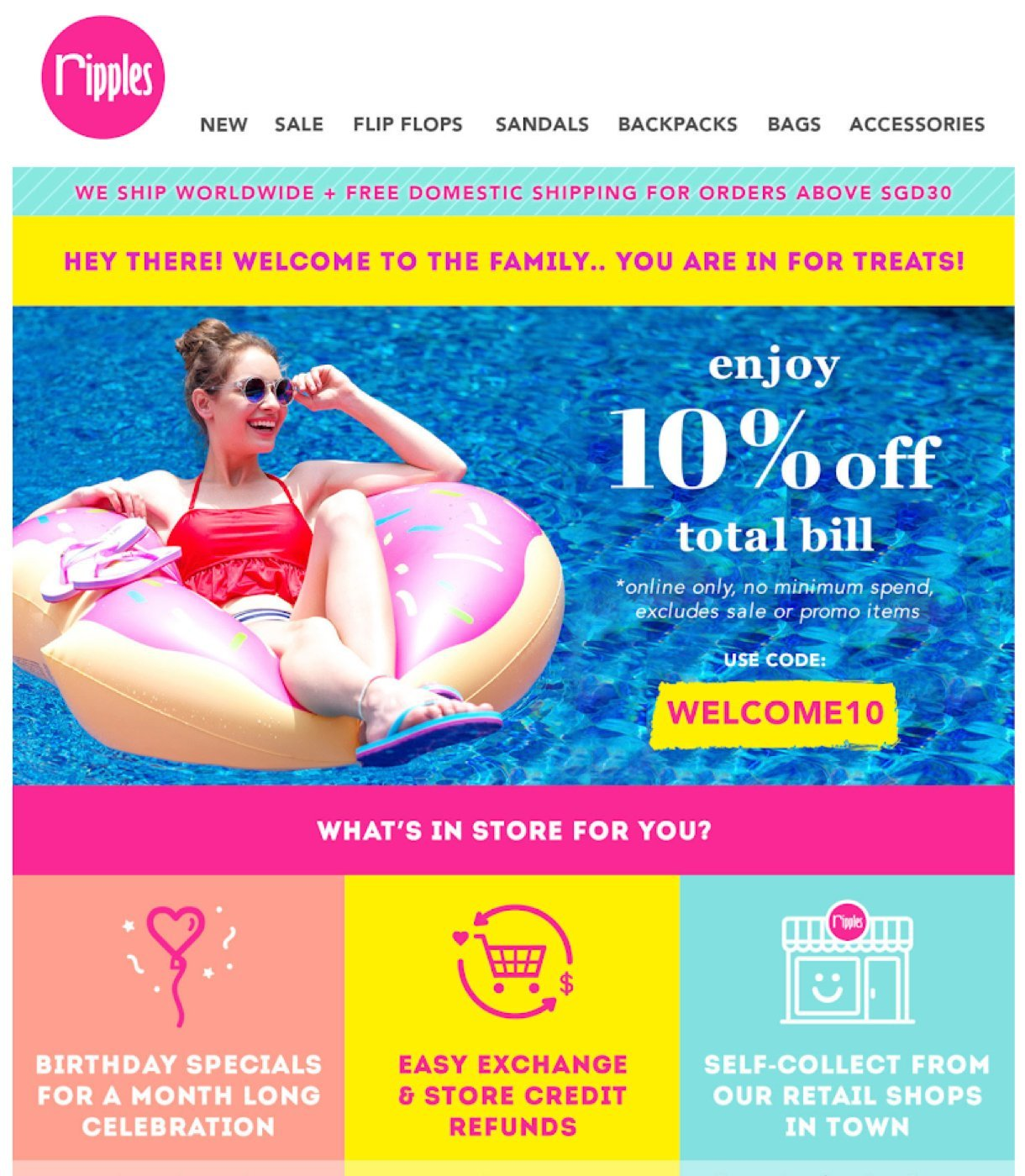 Ripples welcome email example girl floating in a pool