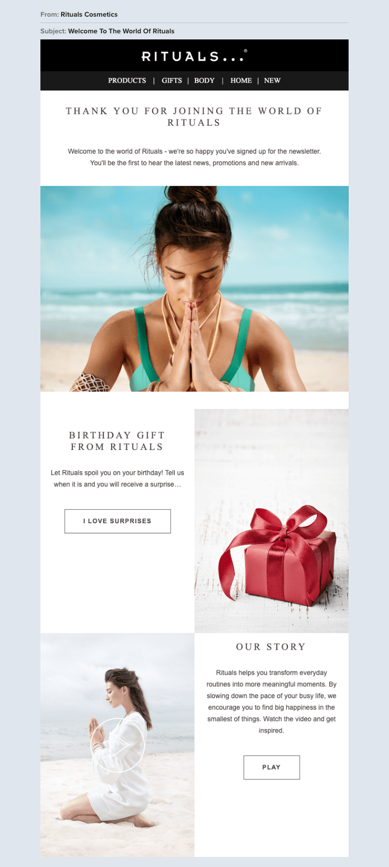 Rituals ecommerce email example