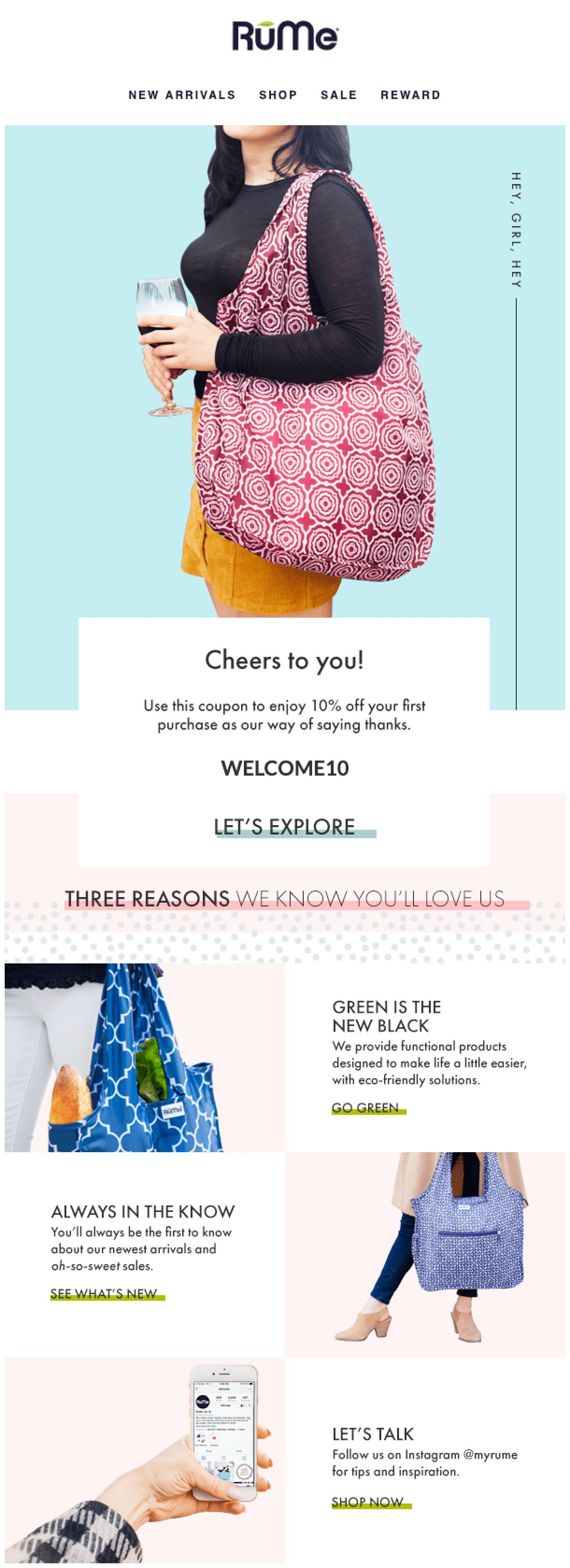 RuMe e-commerce welcome email example