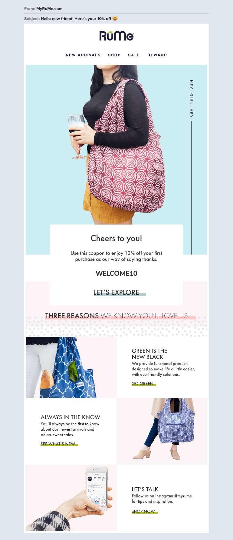 RuMe ecommerce welcome email example