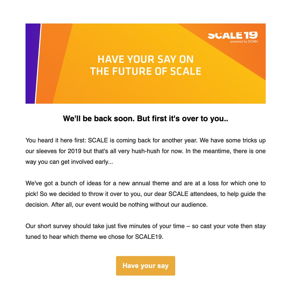 Event newsletter - SCALE post-event email example