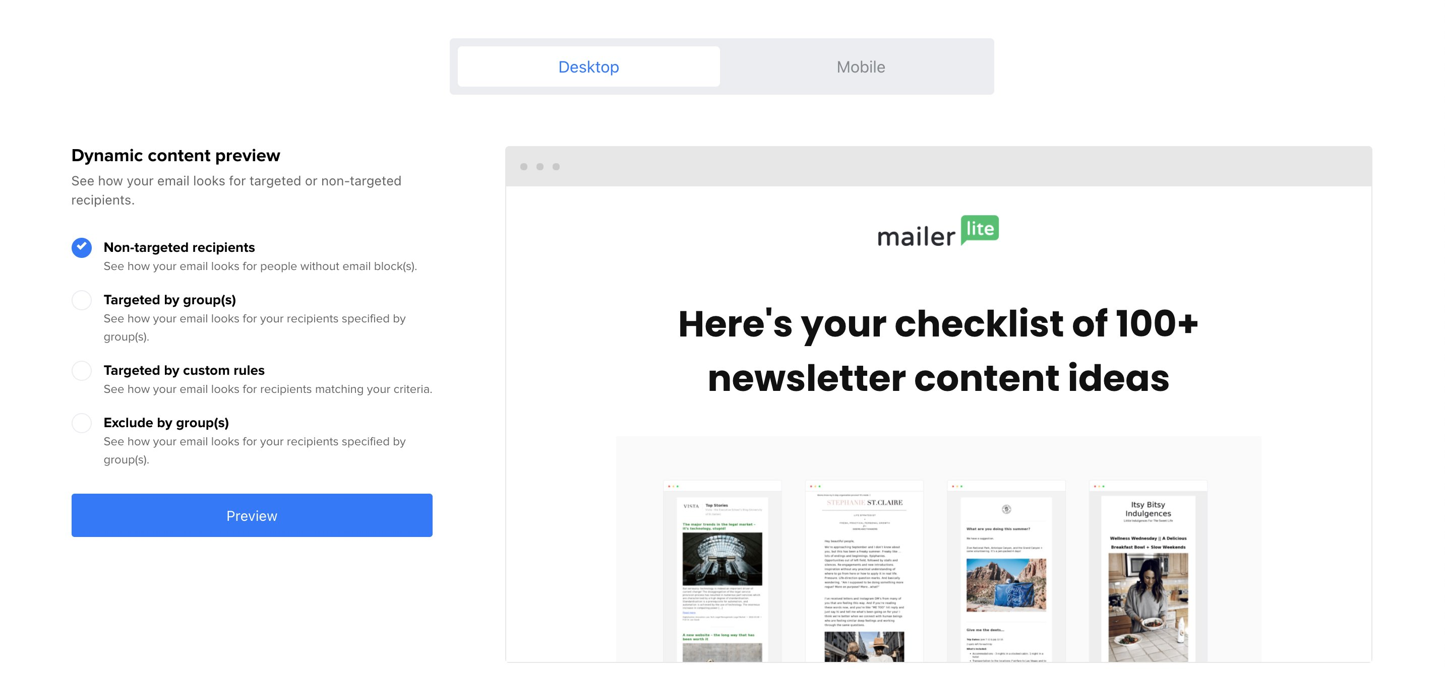 Preview dynamic content with MailerLite