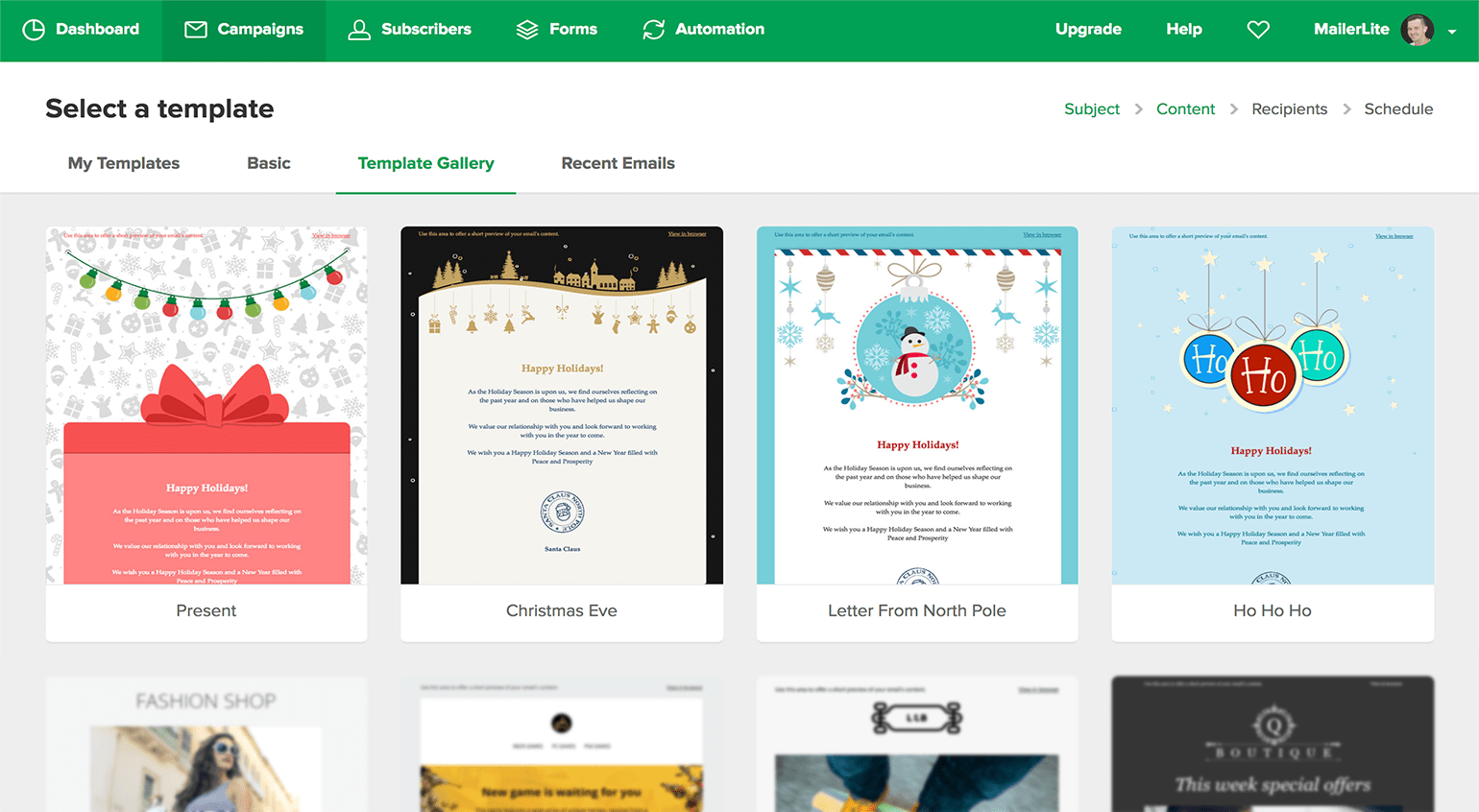 Christmas newsletter templates MailerLite