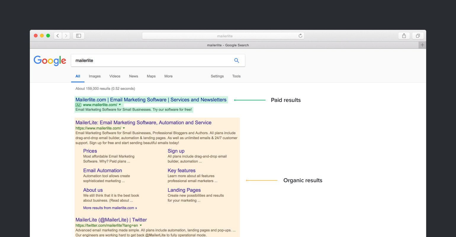 paid and organic search results - MailerLite